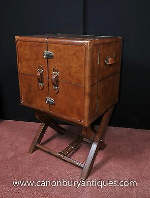 English Leather Campaign Drinks Cabinet Wine Chest Luggage Trunk
