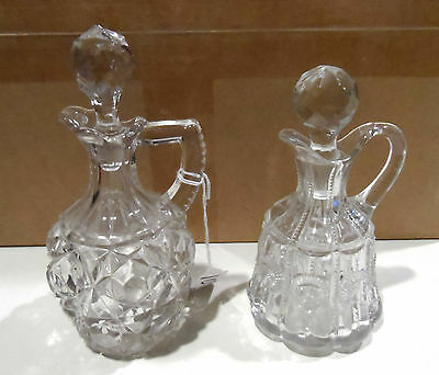 2 x Antique Clear Glass Cruets  w/Tops  & Pontils -Unknown