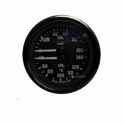 Mocal Oil Temperature/Pressure 40-140C/0-100PSI Mechanical Gauge - Black Face