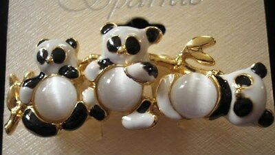 PANDA Family PIN Black White Gold Cats Eyes Beads Carded NEW
