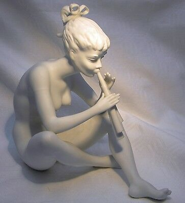 AK KAISER  W. GERMANY  BISQUE FIGURE 385 NUDE PLAYING FLUTE