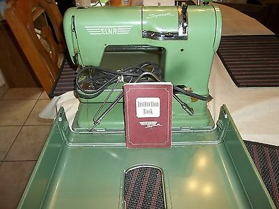 VINTAGE ELNA SUPERMATIC SEWING MACHINE WITH CASE GREEN SWISS MADE