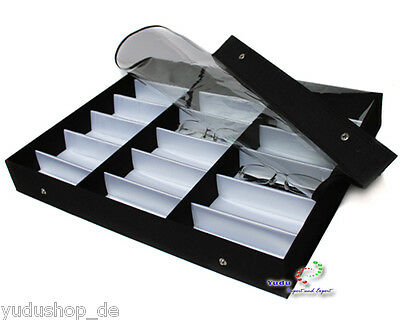 Glasses Display Case for 18 Glasses Textile Fabric Protective Film