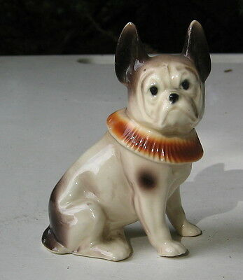 FRENCH BULLDOG VINTAGE FIGURINE WITH HAIR COLLAR GERMAN