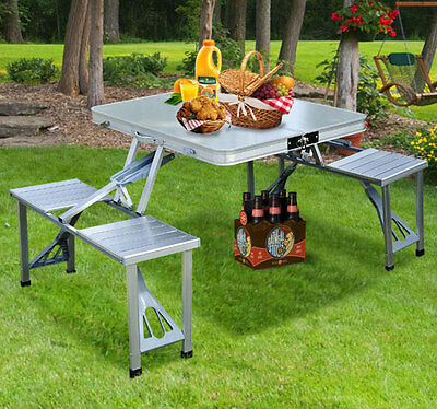 Outdoor Aluminum Picnic Table Portable Seats Folding Camping With Case Chair