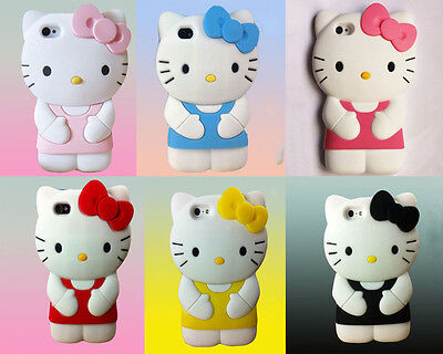 Hello Kitty Silicone Soft Rubber Gel 3D Case Cover For iPhone 4 4s 5 5s 5c 6 New