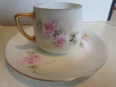 Unusual Antique H. Ohme Silesia Cup & Matching Rosenthal Saucer Pink Floral