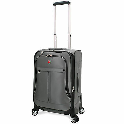 Swiss Alps 20-Inch Expandable Carry-On Spinner Upright Suitcase Luggage - Pewter