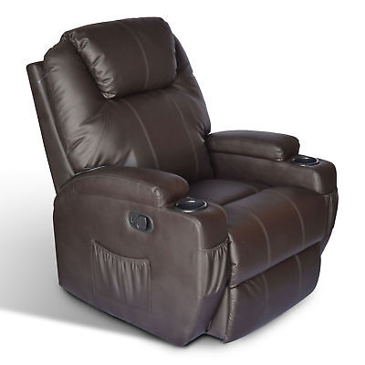 HomCom Luxury Faux Leather Massage Sofa Adjustable Recliner Chair Armchair Brown