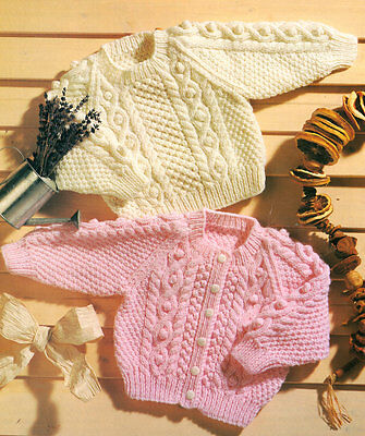 "Baby Aran Raglan Sweater & Cardigan 16 -22""/ 0-3 Years ~  Knitting Pattern"