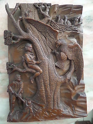 19th Century Carved Black Forest Plaque Panel