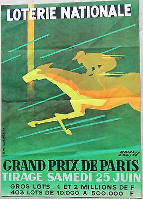 AFFICHE « LOTERIE NATIONALE Grand prix de Paris » Paul COLIN Imprimée par Jean L