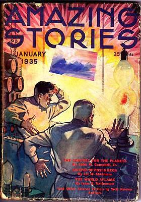 Science Fiction Pulp AMAZING STORIES (January 1935) John W. Campbell Jr. - VG