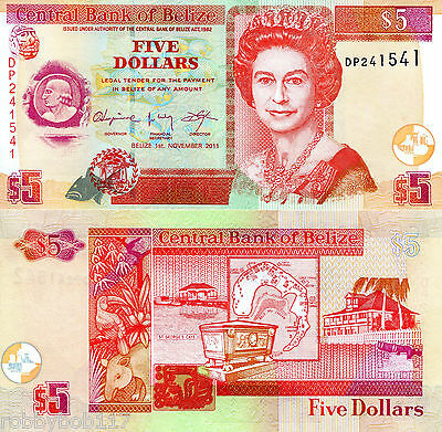 BELIZE 5 Dollars Banknote World Money Currency Bill p67e Note Queen Elizabeth II
