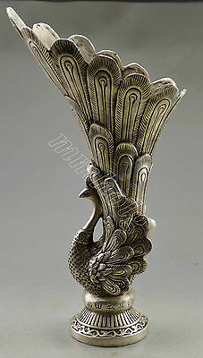 Collectible Decorated Old Handwork Tibet Silver Carved Big Peacock Vase
