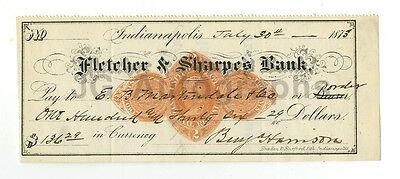 Benjamin Harrison - 23rd U.S. President - Authentic Autographed Cancelled Check