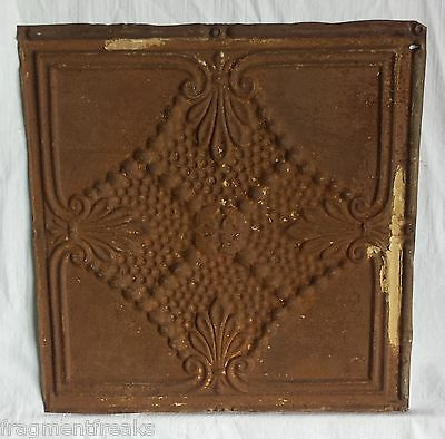 """12"""" x 12"""" Antique Tin Ceiling Tile *SEE OUR SALVAGE VIDEOS* Vintage Rust Mn20"""