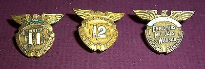 3 nice vintage gold-filled Employers Mutuals of Wausau safe-driving badges