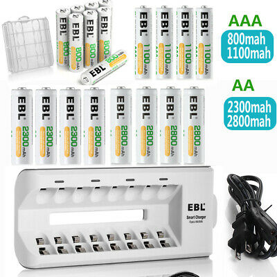 EBL AAA AA NIMH Rechargeable Batteries With 8-Slots Charger For NIMH NICD AA AAA