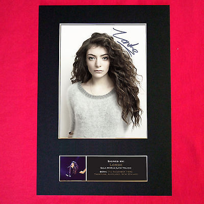 LORDE Signed Autograph Mounted Photo Repro A4 Print 434