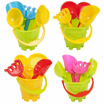 Childrens Mini Sand Bucket & Spade 4 Tools Set Beach Sandpit Holiday Toy Mould