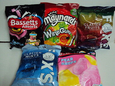 """BRITISH SWEETS/CANDY """"ALLSORTS, WINE GUMS, PEAR DROPS, FOX'S GLACIER FRUITS"""""""