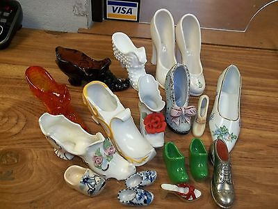 VINTAGE LOT CERAMIC & GLASS SHOES, VARIOUS SIZES INCL. AMBERINA & AMETHYST GLASS