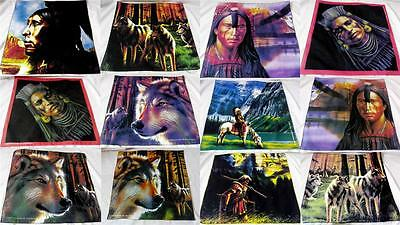 Thick Cotton Apache Red Indian Wolf Horses Art Bandanna Wall Table Cloth Picture