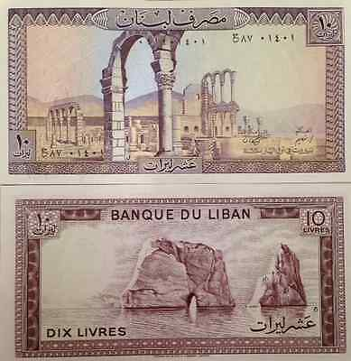 Lebanon 1986 10 Livres Unc Banknote P-63 Ruins Of Anjar Buy From A Usa Seller !!