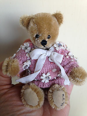 """5"""" Mohair Bear Artist Miniature Jointed Bear So Cute Must See No Res Buy Now!!!"""