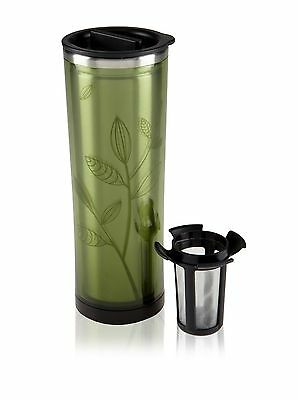 Takeya Double Wall Travel Stainless Tea Coffee Tumbler Removable Infuser Green
