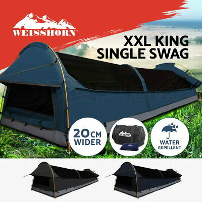 WEISSHORN XXL King Single Swag Camping Swag Canvas Tent Deluxe Extra Large Kings