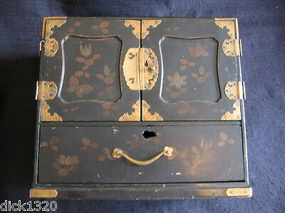 ANTIQUE CHINESE HAND-PAINTED LACQUER JEWELRY CABINET COPPER MOUNTS c.1900's A/F