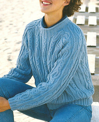"Ladies Aran Wool Cable Raglan Sweater  32 - 42"" - Knitting Pattern"