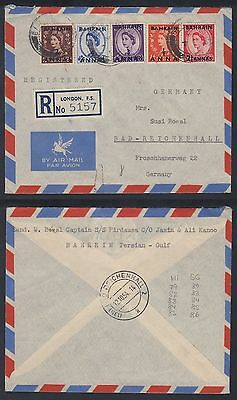"""1954 Bahrain R-Cover to Germany, """"LONDON, F.S."""" R-label [ca493]"""