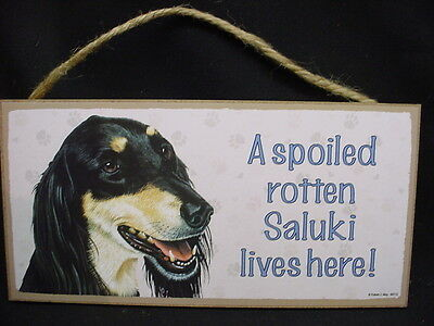 SALUKI  A Spoiled Rotten DOG PICTURE PRINT 5 x 10 INDOOR SIGN wood PLAQUE puppy