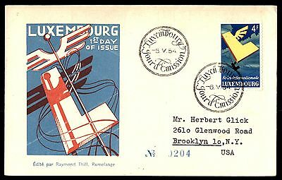 Luxembourg 1954 International Fair Cacheted FDC to US Michel 524