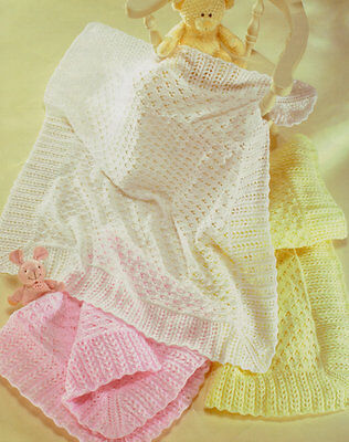 Eyelet  Baby Shawl/ Blanket  Knit in 3 Ply 4 Ply or DK  Knitting Pattern