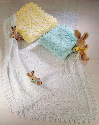 Lacy  Baby Shawl/ Blanket  Knit in 3 Ply 4 Ply or DK  Knitting Pattern