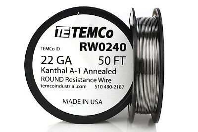 TEMCo Kanthal A1 wire 22 Gauge 50 Ft Resistance AWG A-1 ga