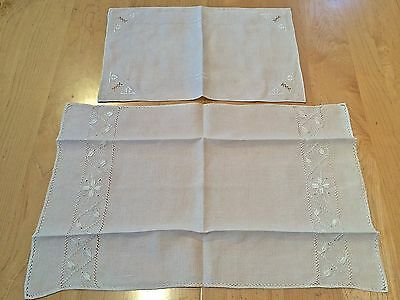 Two Vintage Linen Embroidered Rectangular Pieces