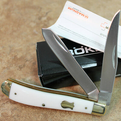 "Boker Plus 3 3/4"" TRAPPER Pocket Knife Vintage White Handles BO294W zix"