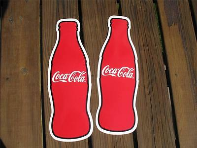 2 -QUALITY COCA COLA HEAVY VINYL BOTTLE DECALS PEEL AND STICK N.O.S.