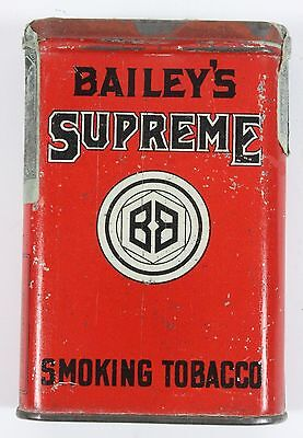 Very Rare Vintage Bailey's Supreme Advertising Roll Vertical Pocket Tobacco Tin
