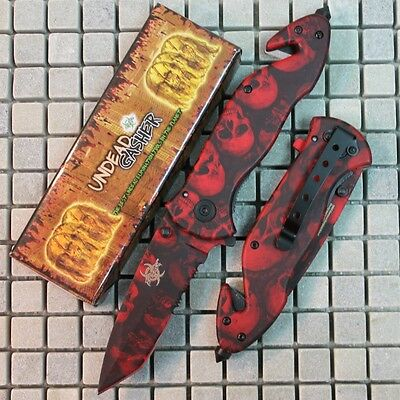 "8.5"" Zombie Slayer RED Skull Assisted Open Rescue Pocket Knife Z-652-SK-RD zix"