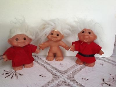 "1986 DAM TROLLS- 4.5"" OR 5"" LOT OF 3, RED CLOTHES, WHITE HAIR"