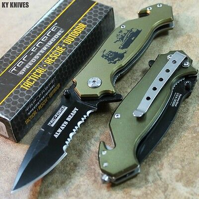 """8"""" ARMY TANK Spring Assisted Open Rescue Pocket Knife Green/Black TF-715TK zix"""