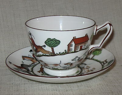 Crown Staffordshire Hunting Scene Footed Cup & Sauce
