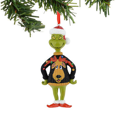 The Grinch with Ugly Moose Sweater Christmas Ornament 4041049 Dept 56 Decoration