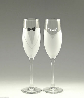 Asta Hand Etched Bride & Groom Champagne Glass Wedding Toasting Flutes Set of 2